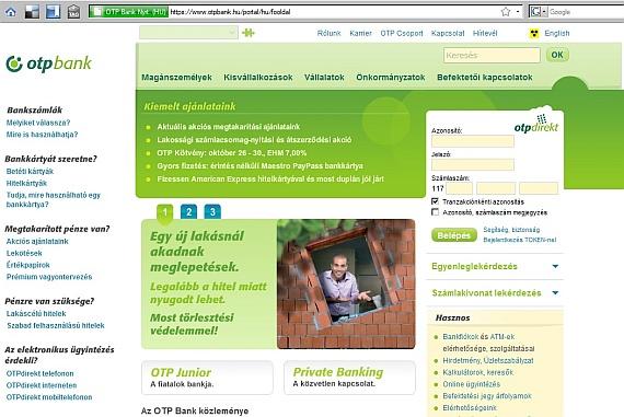 Az igazi OTP Bank weboldal így néz ki.