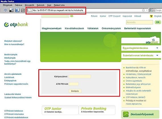 Így néz ki ebben az esetben a hamis, adathalász weboldal