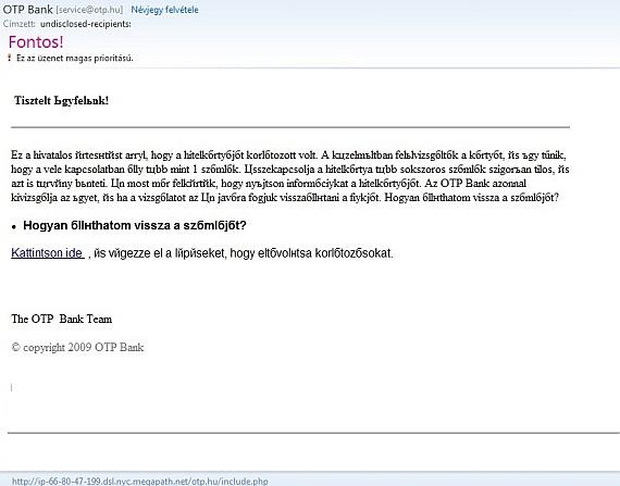 Az érkezett e-mail már szövege alapján gyanús