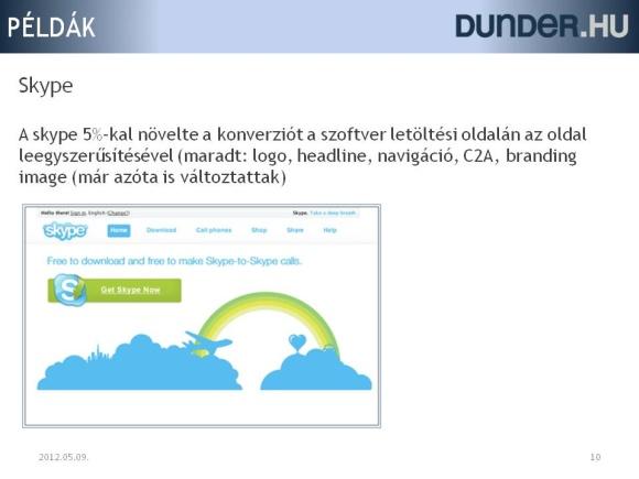 Konverzió növeláse a letöltés oldal egyszerűsítésével a skype oldalán